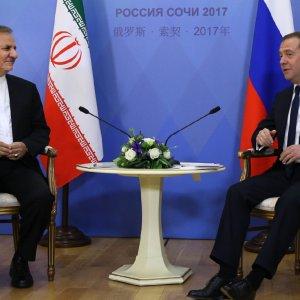 Russian Prime Minister Dmitry Medvedev (R) meets Iran's First Vice President Es'haq Jahangiri in Sochi, Russia, on Nov. 30.