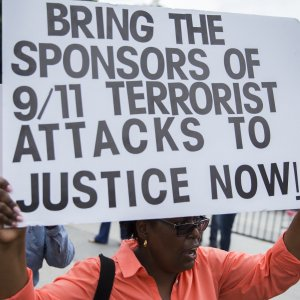 Protesters participate in a rally to support the Justice Against Sponsors of Terrorism Act (JASTA), in front of the White House  in Washington, DC, USA, 20 September 2016.