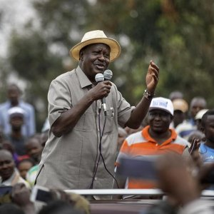 Kenyan opposition leader Raila Odinga addressed a crowd of his supporters in the Kibera area of Nairobi, Kenya, on September 2.