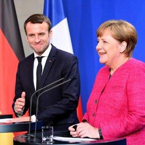 Emmanuel Macron (L) meets Angela Merkel in Berlin, Germany, May 15.