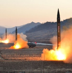 Missile launches by the Korean People's Army at an undisclosed location in North Korea.