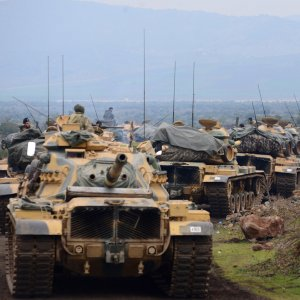 Turkish tanks in a current military campaign against a Kurdish enclave in the northwest Syrian region of Afrin.