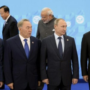 SCO's heads of state attend a meeting in the Russian city of Ufa on June 10.