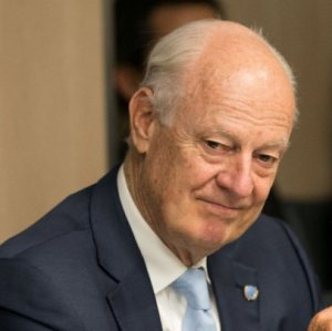 UN special envoy Staffan de Mistura attends a new round  of negotiations with a Syrian government delegation during the Intra-Syria talks