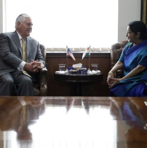 US Secretary of State Rex Tillerson (L) meets Indian Foreign Minister Sushma Swaraj, at the Indian Foreign Ministry in New Delhi, India, Oct. 25.