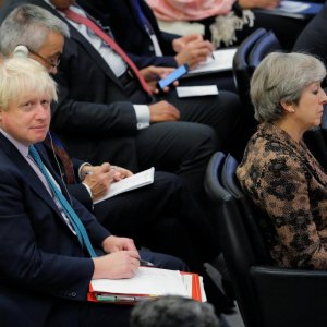 British Prime Minister Theresa May sits in front of British Foreign Secretary Boris Johnson during the 72nd United Nations General Assembly at UN headquarters in New York on September 20