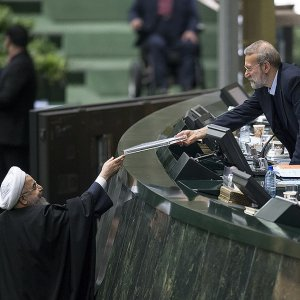 President Hassan Rouhani hands the budget bill for the upcoming fiscal year (March 2018-19)  to Parliament Speaker Ali Larijani on Dec. 10.