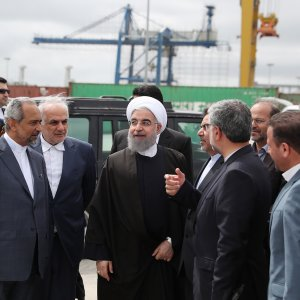 President Hassan Rouhani (C) paid a visit to the northern port and special economic zone of Amirabad on April 11.