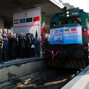 Iranian officials welcome the arrival of the first train connecting China and Iran at Tehran's train station on February 15, 2016.