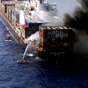 Blaze Hits Ship at Sharjah Port