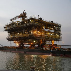The rig links several other platforms and helps transfer gas to onshore facilities.