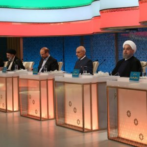 The six presidential candidates during the second debate on May 5.