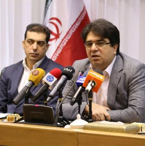 Nasser Hakimi, the head of CBI's Innovative Technologies Department, attends a press conference in Tehran on Nov. 13.