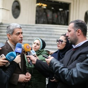 Minister of Economic Affairs and Finance Ali Tayyebnia talks to reporters in Tehran on March 8.