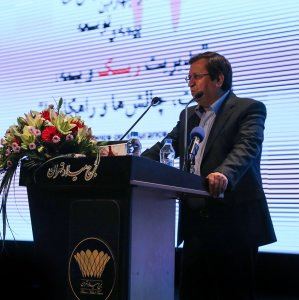 the head of Central Insurance of Iran, Abdolnasser Hemmatiaddresses the 24th National Conference on Insurance and Development in Tehran on Dec. 4.