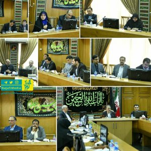 Tehran Mayor Mohammad Ali Najafi (R-C) addressed a gathering of municipal managers in Tehran on Sep. 29.