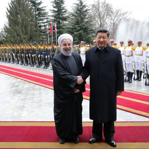 In 2016, Chinese President Xi Jinping (R) and Iranian President Hassan Rouhani announced plans to increase bilateral trade to $600 billion over the next decade. (File Photo)