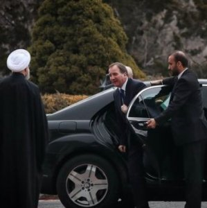 president Hassan Rouhani welcomes Swedish Prime Minister Stefan Lofven who arrived for a three-day visit in Tehran  on Feb. 11.