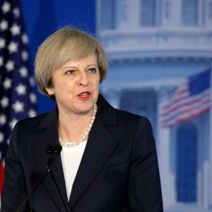 Theresa May speaks to Republican lawmakers on Jan. 26.