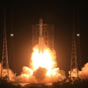 Long March-7 rocket carrying Tianzhou-1 cargo spacecraft lifts off from the launching pad in Wenchang, Hainan Province.