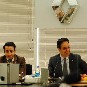 Peyman Kargar (R) at the recent launch of the Renault Sandero in Iran.