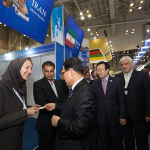 ITU Secretary-General Houlin Zhao, South Korea's minister of science, ICT and future planning, Choi Yang-hee with a delegation of ITU officials visited Iran's pavilion.