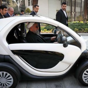 The Yooz two-seater quadricycle is Iran's first domestically produced electric vehicle.