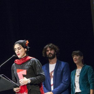 Ghasideh Golmakani speaks for the audience at the closing ceremony of the 59th Bilbao International Festival of Documentary and Short Films 'Zinebi' in Bilbao, Spain, November 17.