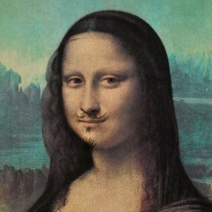 The Mona Lisa with moustache painting