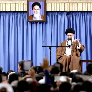 Ayatollah Seyyed Ali Khamenei addresses people in Tehran on May 17.