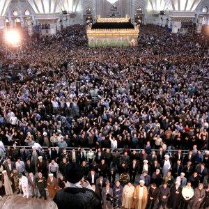 Ayatollah Seyyed Ali Khamenei addresses people at the mausoleum of the late Imam Khomeini on June 4.