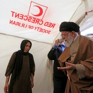 Ayatollah Seyyed Ali Khamenei visits quake-stricken areas in Kermanshah Province on Nov. 20.