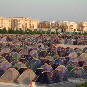 Many Norouz travelers opt to pitch their tents in campsites.
