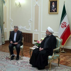 Kuwait's Foreign Minister Sabah Al-Khalid Al-Sabah (L) meets President Hassan Rouhani in Tehran on January 25.