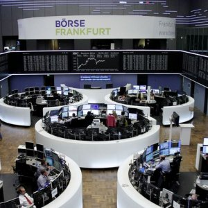 The German share price index, DAX board, is seen at the stock exchange in Frankfurt.