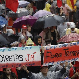 Protesters shout slogans against President Michel Temer in Rio de Janeiro on May 21.