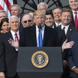 Donald Trump (C) joins with Senate Majority Leader Mitch McConnell, Vice President Mike Pence, Speaker of the House Paul Ryan and Sen. Tim Scott during a tax bill press conference on the South Lawn of the White House, on Dec 22.