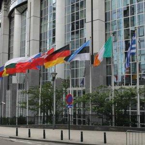 Exterior view of the European Parliament building.