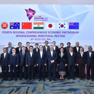 A group picture of ministers from the 16 participating countries who attended the  4th RCEP Intersessional Ministerial Meeting held in Singapore on March 3.