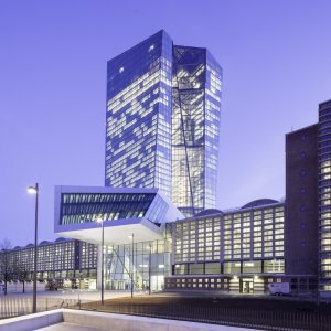 The headquarters of the European Central Bank in Frankfurt's Ostend district.