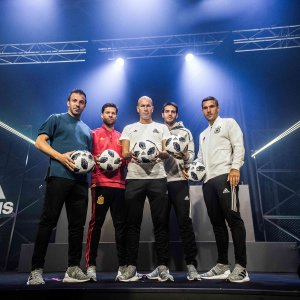 From left: Alessandro Del Piero, Xabi Alonso, Zinedine Zidane, Kaka and Lukas Podolski with the new ball at the ceremony.