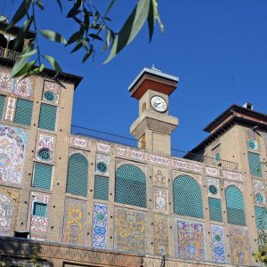 Edifice of Shamsolemareh on the eastern wing of Golestan Palace in downtown Tehran
