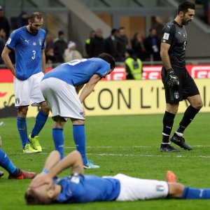 disappointed and sad, Italy Squad after losing the chance to enter World Cup Russia 2018.