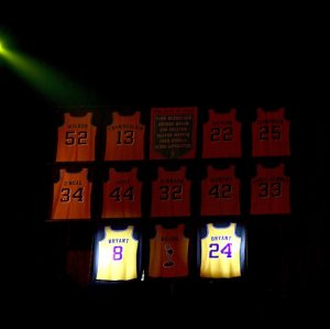 Kobe Bryant's jersey hangs among others such as Shaquille O'Neal