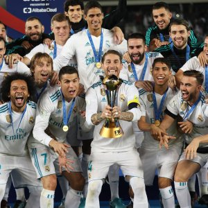 Real Madrid players celebrate winning the title