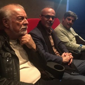 Veteran voice artist Changiz Jalilvand (L), director Qorban Mohammadpur (C) and producer Javad Norouzbeigi