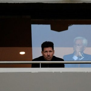 Diego Simeone watched Thursday's 1-0 home win in the return leg from the directors' box at the Wanda Metropolitano.