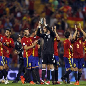 Spain players celebrate after the match with Albania.