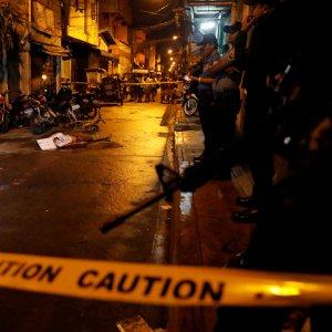Body of a man killed in Pasig, Metro Manila, on Feb. 1.