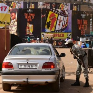 Police officers check cars at the entrance to the Pan-African Film and Television Festival in Ouagadougou, Burkina Faso, on Feb. 27.